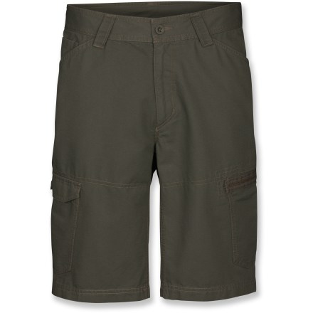Surf Whether road tripping or pedaling around town, these shorts keep you rolling. The North Face Mt. Defiance shorts are made from a washed organic cotton for durability and long-lasting wear. Made from textured, midweight organic cotton for breathable comfort and easy care; heritage wash softens the fabric so they're comfortable from the get go. With a UPF 30 rating, fabric provides very good protection against harmful ultraviolet rays. Zipper fly and belt loops with button closure. Gusseted crotch improves mobility. The North Face Mt. Defiance shorts have 2 hand pockets, 2 back pockets and 2 cargo pockets. Closeout. - $49.73
