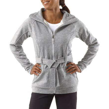 The Avery jacket from The North Face easily transitions from casual strolls to more active endeavors. Quick-drying polyester jersey stretch fleece offers warmth without a lot of weight, so you stay comfortable; brushed interior enhances comfort. Stand-up collar with drawcord adjustment seals in warmth. The North Face Avery jacket features an attached, adjustable belt and zippered hand pockets. Closeout. - $62.83