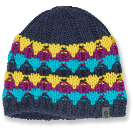 Fitness The North Face Lizzy Bizzy beanie is a warm, colorful and stylish winter accessory. Acrylic provides the warmth of wool without the itch, and it dries quickly. Microfleece lining enhances warmth. - $14.83