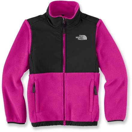 The North Face Denali jacket will be her go-to garment for cold-weather fun. Recycled, heavyweight Polartec(R) 300 Series fleece is exceptionally warm; it's treated with a Durable Water Repellent finish to shed water. Abrasion-resistant nylon overlays on the elbows and upper body and reinforced stitching in high-stress areas increase durability. Sleeves have built-in reach for extended range of motion. The North Face Denali jacket features zippered, tricot-lined handwarmer pockets, non-binding nylon/Lycra(R) spandex cuffs and elastic bound hem. Full-length front zipper extends high for neck protection; kids' write-on ID label helps prevent loss. Closeout. - $75.93
