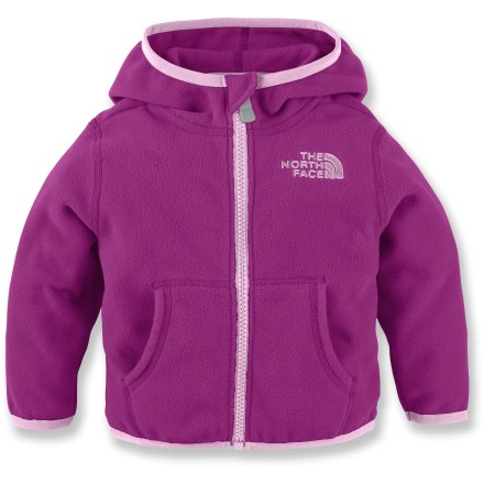 The North Face Glacier Full-Zip Fleece hoodie combines the same performance and style of your fleece jacket with a soft hood for a blend of style and comfort to keep your infant cozy and covered. Polyester fleece with a silky-soft, pill-resistant surface keeps little ones warm without weighing them down. Lightweight fabric resists pilling and fading, packs easily and maintains its shape. Handwarmer pockets warm chilly hands. Closeout. - $16.73
