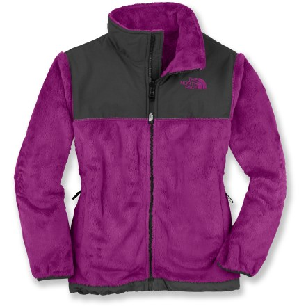 Entertainment The North Face Denali Thermal Fleece jacket for girls is plush and adorable. It provides a stylish haven from cool temperatures. High-loft polyester fleece is durable, soft, breathable and water- and stain-resistant. Nylon shoulder yoke and collar overlays fend off light precipitation and add abrasion resistance. The North Face Denali thermal jacket features zippered handwarmer pockets and an elastic hem and cuffs to seal in warmth. Features zip-in integration with other The North Face jackets for a complete layering system, other jackets sold separately. Closeout. - $68.93