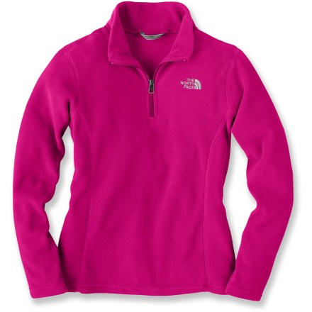 Entertainment Athletic and warm, The North Face Glacier quarter-zip fleece top can be worn nearly anywhere and for a wide range of cool-weather activities. Thermally efficient, lightweight Polartec(R) 100 fleece is soft and offers excellent insulation without bulkiness. Quick-drying, easy-care polyester fabric resists pilling and fading, and maintains its shape. Quarter-length zipper allows ventilation when activity level increases. Closeout. - $27.93