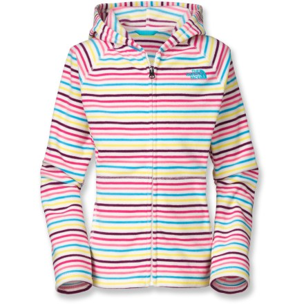 Entertainment The North Face Striped Glacier full-zip fleece hoodie gives girls a cheerful option for a warm, soft layer when the going gets cold. Quick-drying Polartec(R) polyester fleece is lightweight yet keeps her super warm when a chill is in the air. Full-length zipper allows easy temperature regulation. Hand pockets provide a great place to warm cold hands or stash goodies. Closeout. - $33.93