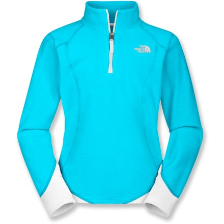 Entertainment The girls' North Face Glacier Micro quarter-zip fleece top offers warmth for a wide range of cool-weather activities. Soft and thermally efficient polyester microfleece offers excellent insulation without bulkiness. Easy-care fabric dries quickly, maintains its shape and resists pilling and fading. The North Face Glacier fleece top features a quarter-length zipper that allows ventilation when activity level increases. Closeout. - $19.83