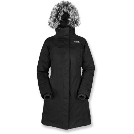 The North Face Arctic II down parka combines weather resistance with the full-length protection of a trench coat. Nylon herringbone shell fabric is soft to the touch and resists abrasion; seams are sealed for complete weather protection. HyVent(TM) multilayer polyurethane coating provides waterproof protection, breathability and durability. Insulated with 550-fill-power goose down for a high warmth-to-weight ratio. Lining slides on easily over layers and wicks away moisture to keep you dry. Insulated hood sports a sassy (and detachable) faux-fur trim; hood drawcord secures the fit. 2-way center front zipper; attached internal fleece cuffs seal in warmth. The North Face Arctic II parka has 2 zippered handwarmer pockets, 2 top-entry chest pockets and an internal media pocket. Closeout. - $230.93