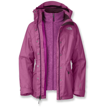 The North Face Kalispell Triclimate is a 3-in-1 winter jacket that delivers 3 different ways to wear 2 jackets, providing the ultimate wintertime flexibility. Exterior jacket delivers waterproof, breathable, seam-sealed protection with HyVent(R) heathered twill fabric; it's also insulated for greater warmth when worn solo. Liner jacket is made from warm, 300-weight sweater knit fleece and has an internal windflap, 2 zip hand pockets and a drawcord hem. Exterior shell features 80g of Heatseeker(R) synthetic insulation (60g in sleeves and hood) providing warmth even when it gets damp. Fully adjustable, removable hood adds protection when you need it; tall collar zips up to protect your neck from the cold. Brushed collar lining protects delicate skin from abrasion. 2-way front zipper, with external and internal stormflaps, provides a versatile fit; exterior flap snaps closed over the zipper. Pit zippers provide ventilation to help keep your body temperature regulated. Back vent adds freedom of movement and foldable cuffs add coverage. The North Face Kalispell shell jacket has 2 zip hand pockets. Standard fit is not too tight and not too loose, it's just right. Closeout. - $183.93
