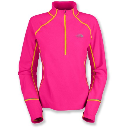 Fitness The North Face TKA 80 Hybrid half-zip top uses mesh paneling and soft, warm microfleece to keep you comfortable during cold weather aerobic activities like skiing or winter running. Soft polyester microfleece offers lightweight, thermally efficient performance for good insulation without bulkiness. Stretchy polyester mesh panels at sides and on back enhance breathability and freedom of movement and offer fast moisture-transfer. Regulate comfort with the half-length zipper with an inside windflap that doubles as a chin guard; tall collar keeps neck warm. Thumbholes secure sleeves over hands for warmth. Rear stash pocket keeps ID, tunes or other small essentials easily accessible on the go. The North Face TKA 80 Hybrid half-zip top for women uses reflective detailing to increases your visibility in low light. Closeout. - $40.93