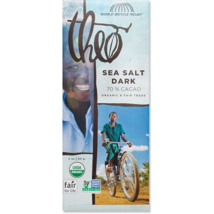 Camp and Hike The Theo Chocolate World Bicycle Relief Sea Salt Dark Chocolate bar combines 70% dark chocolate with a pinch of sea salt for a tasty treat you can enjoy anytime. - $2.93