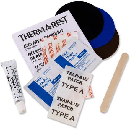 Camp and Hike The Therm-a-Rest Universal Repair Kit can have your punctured mattress ready to go in minutes. Specifically formulated to make rapid, permanent repairs in the field or at home. Includes Hot Bond adhesive, patches, alcohol prep pad and wood stick; also includes instructions for 3 different repair methods. Kit works on all mattresses such as NeoAir, Trail, LuxuryCamp, LuxuryMap and more. - $9.95