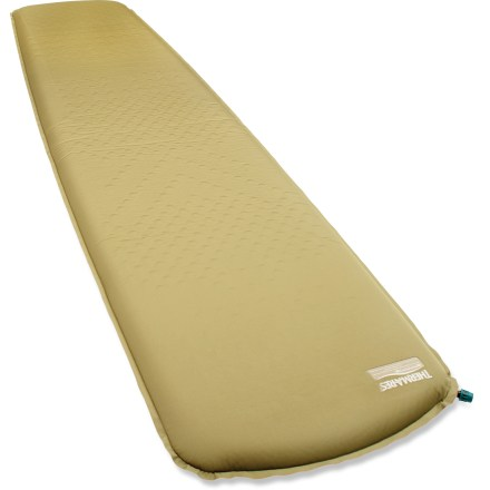 Camp and Hike The Therm-a-Rest Trail Pro WR women's sleeping pad brings together a perfect harmony of light weight, cushioning and durability for the ultimate in sleeping bliss, night after night. Designed specifically for women, this pad features extra insulation in hips, feet and torso to keep even the coldest sleepers warm and comfortable. Slowing heat loss and boosting warmth, digaonal-cut foam also reduces volume and weight, making mattress even more packable than the original Therm-a-Rest Standard. Digital pressure mapping technology was used to analyze a range of body types in varying sleep positions to identify common areas of pressure. To reduce pressure (sore spots), foam padding is die-cut in high-pressure areas (such as hips) to decrease the foam density, hence softening the pressure points for comfort. In low-pressure areas (such as knees) full-density foams provide increased cushioning, support and warmth where it's needed most. Top is covered with a non-slip textured polyester; reinforced bottom adds durability. The self-inflating Therm-a-Rest Trail Pro WR women's sleeping pad includes a stuff sack. - $59.93