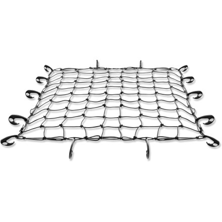 Camp and Hike This heavy-duty Thule Cargo net secures all of your gear when strapped onto a Thule roof basket. Strong, stretchy net fits over your gear and attaches to the roof basket with high-quality nylon hooks. - $39.95