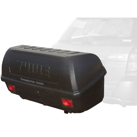 Camp and Hike No step stool required! This Thule Transporter cargo box mounts to your hitch, not your rooftop, making it easy to access all your gear. - $569.95