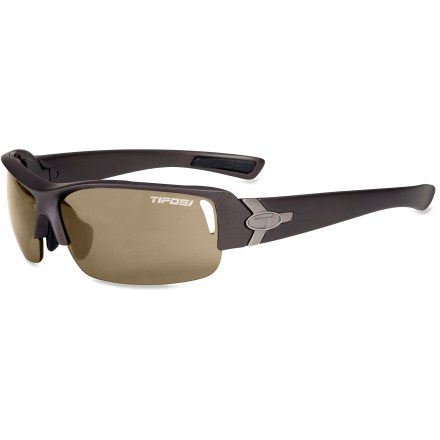 Entertainment These Tifosi Slope polarized sunglasses are perfect for watersports, driving and everyday wear. With 3 different sets of lenses, you can swap out lenses to suit your style and activity. Frames include 3 sets of lenses (polarized brown, non-polarized red and yellow) to accommodate bright light, medium light and low light. Polarized lenses reduce 99% of visible glare from water, snow, sand and pavement for increased visual acuity and decreased eye strain. Lightweight and virtually shatterproof, polycarbonate lenses are 20 times more impact resistant than glass and one-third the weight. Grilamid(R) TR90 lightweight nylon frames offer a consistent fit and flexibility in all temperatures and are extremely impact resistant. Hydrophilic rubber nosepiece and temple ends become tackier when wet for reliable grip during exercise and hot weather. Best fits medium to large faces. Tifosi Slope polarized sunglasses include a semirigid zippered storage case and cleaning cloth. Closeout. - $53.93