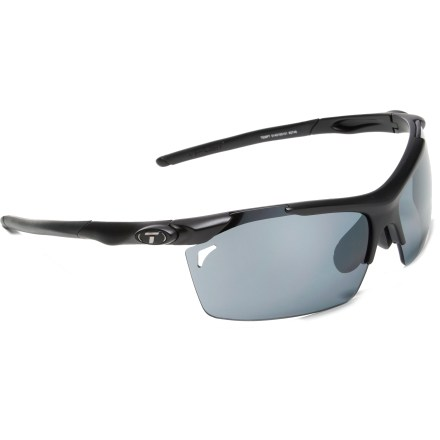Entertainment From sun up to sundown, the Tifosi Tempt Interchangeable sunglasses have you covered. Swap out lenses to fit your activity as you move from the sun to the shade. Featuring interchangeable lenses, frame includes 3 pairs of lenses (smoke gray, red, and clear tints) that accommodate bright light, low-medium light and nighttime conditions. Lightweight and virtually shatterproof, polycarbonate lenses are 20 times more impact resistant than glass and one-third the weight. Grilamid(R) TR90 lightweight nylon frames offer a consistent fit and flexibility in all temperatures and are extremely impact resistant. Ventilated lenses increase airflow to help eliminate fogging. Rubber nosepiece and temple ends become tackier when wet for reliable grip during exercise and hot weather. Fits small to medium faces. Tifosi Tempt Interchangeable sunglasses include a semirigid zippered storage case and cleaning cloth. - $59.95