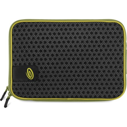 "Entertainment The Timbuk2 Crater laptop sleeve supplies ventilated protection and carrying convenience for most 13 in. laptop computers. ""Crater"" holes help circulate air to keep your laptop cool while it's in the sleeve. Fully padded main compartment features an L-shaped zipper for easy access to your laptop. The Timbuk2 Crater laptop sleeve is constructed with high-density foam and rugged nylon to deliver solid protection and durability. - $25.93"