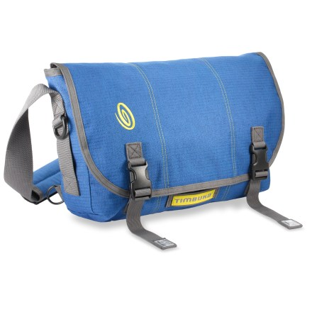 Fitness This small-size Timbuk2 Full-Cycle messenger bag features recycled materials throughout to minimize its environmental impact. Full-Cycle messenger bag is constructed out of recycled PET made from old plastic bottles; other components have been recycled or reground (except zippers). Internal slash pocket against the back wall of the bag provides a padded, firm place to store your files and laptop; fits most laptops with screens up to 13 in. Adjustable shoulder strap has a sturdy quick-release buckle, so you can dial in the fit and then leave it-unclick buckle to take bag off; no need for strap readjustment. Front organizer panel and internal pockets organize your stuff; side-entry Napoleon zip pocket offers easy access to contents without having to open front flap. Timbuk2 Full-Cycle messenger bag comes with reflector tails and safety flasher attachment loop (flasher sold separately). - $43.83