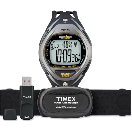 Camp and Hike Train smart and get ahead of the competition with the digital Ironman Race Trainer heart rate monitor and USB kit. It will give you the necessary data to improve your performance. 10-workout memory gathers elapsed time and heart rate data when you run the watch's chronograph or interval timer. Timer offers a 5-interval countdown that can repeat up to 99 times; interval timer is useful when workouts include different segments, such as a run/walk method. Each segment in the interval timer can be set for both heart rate zone and duration, so you can get time and effort guidance during a workout. Upload data from the watch to your home computer with the Timex Data Xchanger USB device; analyze the data using the Timex online training website. 2-way wireless communication link provides seamless communication and data transmissions between the watch and other ANT+Sport devices. Preset your desired heart rate exercise zone; an alarm will warn you when you have gone out of your zone. Average heart rate is given for total workout, each lap and total time in your zone. Provides total calories burned and displays percentage of maximum heart rate. Recovery heart rate timer measures your heart rate for a timed recovery during or after your workout. Maximum heart rate zone calculation automatically sets your 5 training zones; 1 manual zone included. Digital transmission protects your data from cross talk with other heart rate monitors and electronic interference from exercise equipment. Water-resistant hatch in the heart rate sensor accommodates quick and easy battery changes. INDIGLO(R) night-light illuminates the display for easy use at night. 100-hr. chronographs with lap and split options; 50-lap memory with average heart rate per lap. 100-hr., 3-mode countdown timer; 3 alarms can be set as daily or weekly. Includes heart rate sensor with adjustable chest strap. Overstock. - $84.83