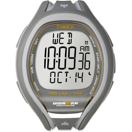 Entertainment Get your info while on the move! The Timex Ironman 150-Lap Sleek TapScreen watch lets you access information without breaking your stride. TapScreen feature logs split times with 1 firm tap on the watch face; glancing at the oversize display and listening to the audible alarms provide real-time feedback. Slim design features an easy-to-use, push-button format. Training log stores workouts by date and includes best lap, average lap and total segment time. Features 150-lap memory recall, 100-hr. chronograph with lap or split option and interval repetition counter. 2 interval timers can be set for up to 24 hrs. of speed and endurance training. Features 3 programmable audible alarms with 5 min. backup alarm and on/off hourly chime. INDIGLO(R) Night-Light illuminates the display for easy use at night. Tough resin case and top ring are water resistant to 100m (330 ft.). Resin strap offers enhanced ventilation and flexibility for a seamless fit. Overstock. - $46.93