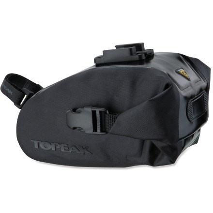 Fitness The medium-size Topeak Wedge DryBag saddle bag keeps your riding essentials dry and secure thanks to its waterproof construction. QuickClick(TM) mounting is a proprietary quick-release mounting system that allows fast and easy tool-free mounting; simply slide and click and the bag is secure. Coated nylon with sonically welded, sealed seams and roll closure provides complete, waterproof protection from the elements. Rear-facing attachment point lets you easily affix a rear blinky light (sold separately). Reflective detailing on the Topeak Wedge DryBag increases your visibility in low light. - $31.93
