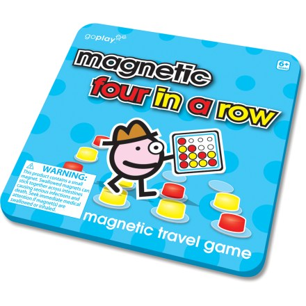 Camp and Hike This Magnetic Four In A Row travel game from Toysmith provides fun for the whole family, in an easily packable box that travels well in the car, on the plane or even to the campsite. 5.5 in. tin box with magnetic game pieces lets your young ones play anywhere. Players compete to get 4 of their own colored pieces lined up in a row horizontally, vertically or diagonally. Magnetic Four In A Row travel game is recommended for ages 6 and up. - $4.93