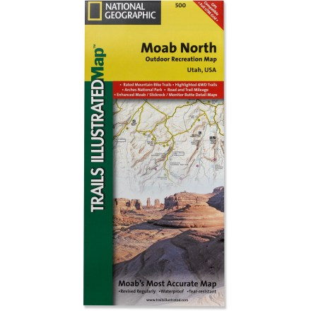 Camp and Hike This colorful National Geographic Trails Illustrated folded map offers detailed coverage of recreation areas north of Moab, Utah. - $11.95
