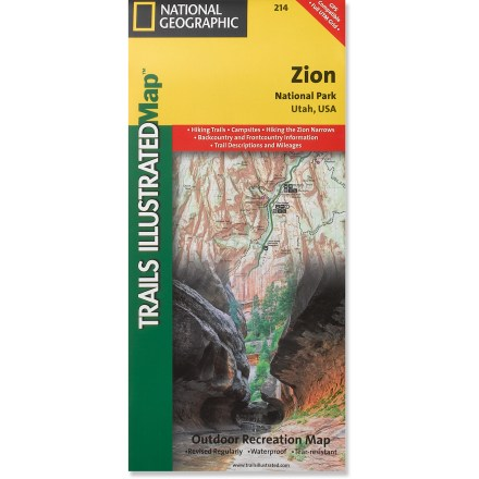 Camp and Hike This National Geographic Trails Illustrated folded map offers comprehensive coverage of Zion National Park in Utah. - $11.95