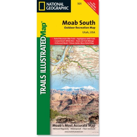 Camp and Hike This beautifully rendered Trails Illustrated folded map offers detailed coverage of the areas south of Moab, Utah. - $11.95