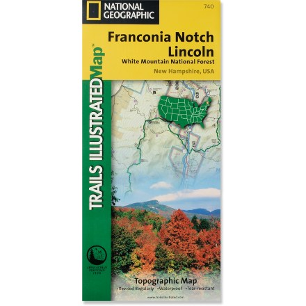 Camp and Hike This detailed National Geographic Trails Illustrated folded map offers comprehensive coverage of Franconia Notch and Lincoln in New Hampshire. - $11.95