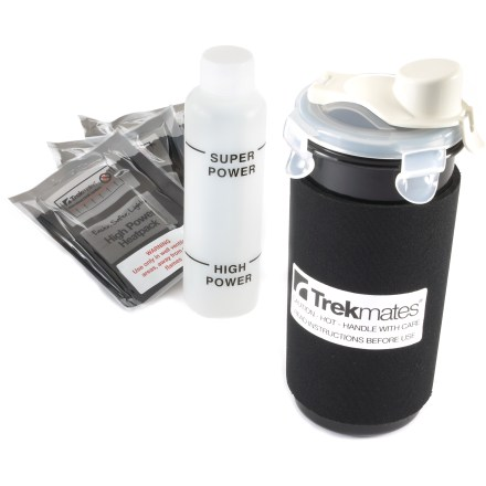 Camp and Hike The lightweight, easy-to-use Trekmates Flameless cook flask kit uses water-activated heat packs to quickly heat water without the hazards of an open flame. Place a Trekmates heat pack in the plastic container, add water, place the stainless-steel cup inside the plastic container, fill it with water, lock the lid and you're set. Water-activated heat pack gets hot quickly; in about 7 to 10 minutes you'll have steaming hot water that you can add to a dehydrated meal or use to make a cup of tea. Includes 3 High Power heat packs; each pack weighs only 0.9 oz., significantly less than a traditional gas canister. High Power heat packs reach a maximum temperature of 146degF in 10 min. and will hold that temperature for another 20 min. Flask holds 12.2 fl. oz. of water. The Trekmates Flameless cook flask kit comes with 3 High Power heat packs and a measuring bottle. - $16.93