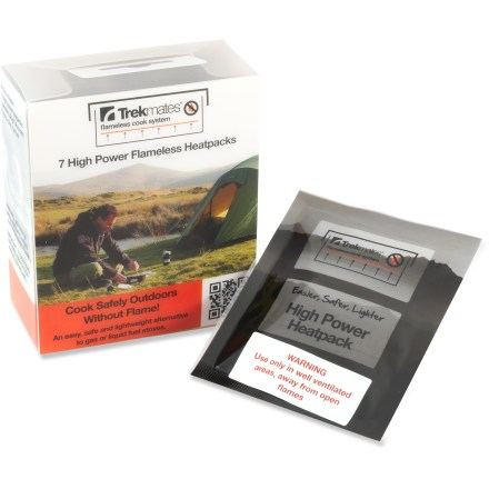 Camp and Hike Use these Trekmates High Power heat packs with the Trekmates Flameless cook box or flask, sold separately. High Power heat packs reach a maximum temperature of 146degF after 10 min. and will hold that temperature for another 20 min. Package contains 7 heat packs. - $7.93