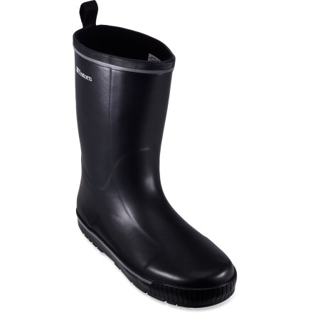 From boat decks to city streets, the Tretorn Skerry rain boots provide excellent waterproof protection and a matte finish for subtle style. Mid-height natural rubber uppers form a tough waterproof barrier to keep slush and puddles at bay. Shaft circumference is 15 in. and based on size 7; measurement is for the outside of the boot shaft and, in general, the internal measurement is roughly 1 in. shorter. Nylon pull tab at top of boots gives you leverage to slip feet comfortably inside; tuck your pants into the rubber uppers to keep yourself splash-free. Polyester microfleece linings are soft to the touch, wick moisture to regulate foot temperature and add insulation in cold weather. Rubber midsoles absorb shock, cushion feet and provide gentle support; removable OrthoLite(R) foam insoles enhance comfort. Outsoles on the Tretorn Skerry rain boots are made of gum rubber and use a versatile tread pattern for sure footing on a variety of surfaces. - $34.83