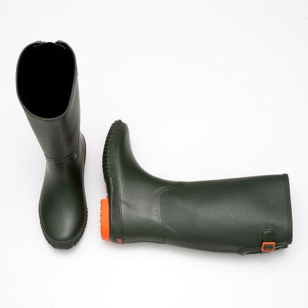 Inspired by traditional riding boots, the chic Tretorn Emelie rain boots have roomy shafts to accommodate a variety of calf sizes-with room to spare for tucking in your jeans! Waterproof, PVC-free, natural rubber uppers feature adjustable buckles at calves. Microfleece linings wick moisture away and offer a touch of warmth. EcoOrthoLite(R) rubber insoles top rubber midsoles for responsive cushioning underfoot. Rubber outsoles on the Tretorn Emelie rain boots provide reliable grip on a variety of surfaces. - $41.83