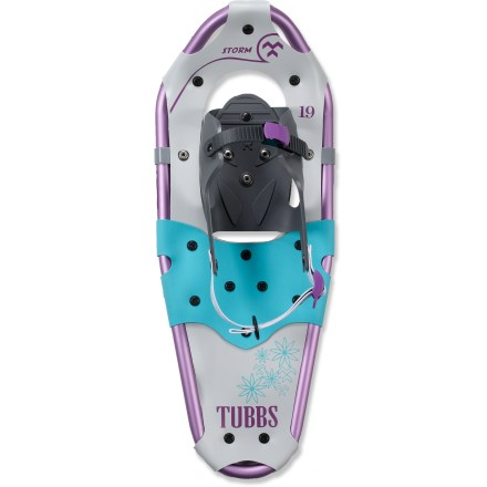 Camp and Hike The Tubbs Storm girls' snowshoes let them wander through the winter white freely, thanks to great flotation and traction. With an ample 7 x 19 in. platform, these snowshoes are designed to carry 40 to 90 lbs. on trails with packed snow conditions. 1-piece 6000-series aluminum frames are lightweight and strong for reliable stability with less fatigue. Durable HDPE decking is waterproof and maintenance free for lasting use. Easy-to-use Quick Draw Jr.(TM) bindings fit a wide range of boot styles and sizes and are designed to provide minimal fuss when getting on/off of kids' feet. Kid-friendly carbon steel crampons dig in for traction and help add stability on downslopes. Recommended load for the Tubbs Storm girls' snowshoes includes weight of hiker with gear. - $49.93