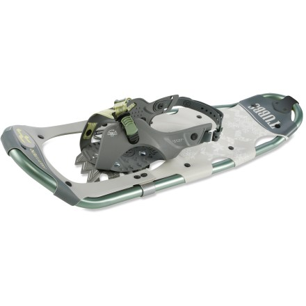 Camp and Hike The Tubbs Frontier 21 women's snowshoes offer gender-specific articulation, easy-to-use bindings and excellent traction for the novice snowshoer exploring flat terrain or packed trails. - $159.95
