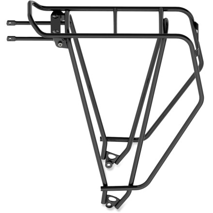 Fitness This tubus Cargo Evo bike rack delivers heavy-duty support for your touring, commuting or everyday riding cargo. Constructed out of sturdy, powder-coated chromoly steel, the rack offers a stable, strong platform for panniers and gear. Simple, optimized mounting means it's easy to attach to most bikes with 700c wheels and rack mounting eyelets. Rear bracket makes it easy to affix a rear safety light (sold separately). The tubus Cargo Evo 700c bike rack supports up to 88 lbs. Please note: the tubus Evo models are not compatible with the adapter set for QR-axle-mounting (tubus part 71500) or the extension part (tubus part 70024). - $140.00
