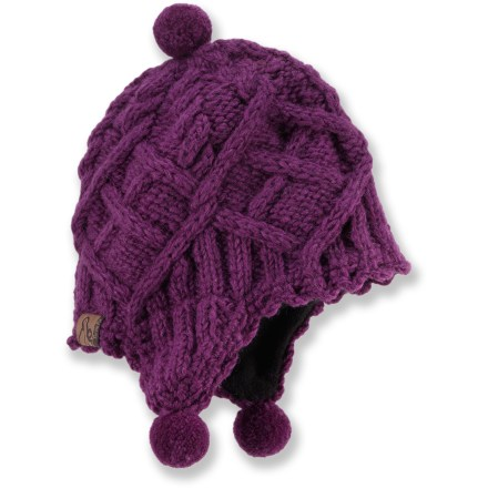 Fitness The toddlers' Turtle Fur Nepal Sophia earflap hat is handknit in Nepal and offers great warmth for a cold winter day. Knit wool exterior is lined with soft polyester fleece for excellent warmth and comfort. Hand wash in cold water and lay flat to dry. - $11.83