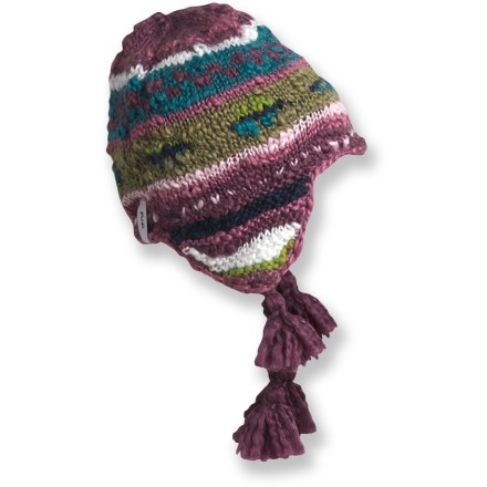 Entertainment Add some color to a cold, snowy winter with the hand-knit Turtle Fur Vesal Earflap hat. Acrylic/wool exterior is fully lined with soft polyester fleece for great warmth and comfort. - $25.93