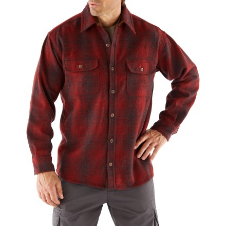 The Twin Lakes Wool Overshirt keeps you warm while chopping wood, hanging by the campfire, or just being outdoorsy. Wool/nylon blend fabric is warm and comfortable. Button-front for easy on and off. Chest pockets feature button closures. Machine wash, lay flat to dry. Closeout. - $42.93