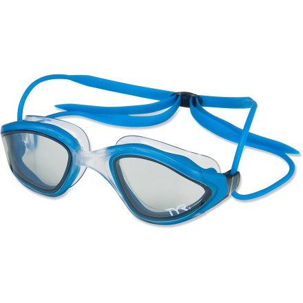 Fitness The TYR Orion swim goggles have quality lenses and a comfortable fit that allow for good sighting while you're training and racing in open water. Flat lenses provide distortion-free viewing with great peripheral clarity; darkish tint is great for bright days. Strategically placed shock pockets distribute pressure around the eye. Strap conforms to sides of head, while flat back straps allow a secure fit; strap is easy to adjust. The TYR Orion swim goggles include a case. - $21.93