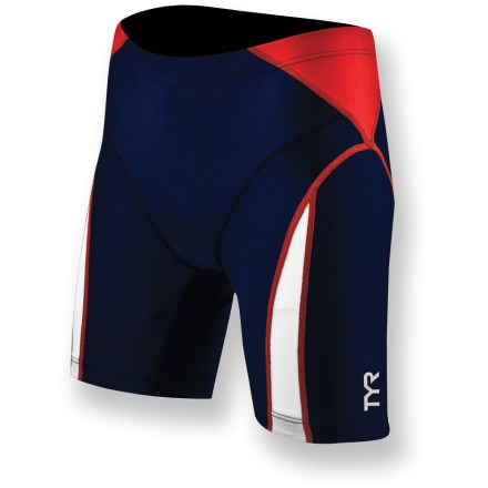 Fitness The TYR Competitor Tri women's shorts feature a sleek, low-drag fit so you can swim, bike and run like the wind. Polyester and spandex blend offers excellent comfort, shape retention and moisture management. Fabric protects skin from UV light with a UPF rating of 50+. Second-skin compression fit offers additional support and increase comfort during the swim. Elastic leg grippers with beads of silicone help keep the TYR Competitor Tri shorts in place. Rear, zippered pocket stores training essentials. Low-profile, moisture-wicking pad fights odors, adds comfort on the bike and doesn't soak up water on the swim. Elastic waist with drawcord ensures a comfortable fit. - $49.93