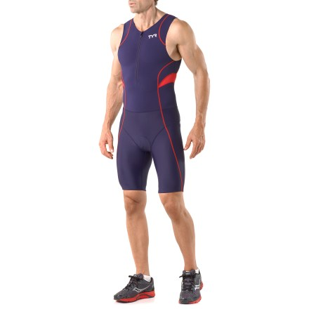 Wake When race day is upon you, this men's TYR Competitor Tri suit will keep you powering through the miles. Polyester/Lycra(R) spandex fabric is lightweight, breathable and fast drying. Fabric provides UPF 50+ sun protection, shielding skin from harmful ultraviolet rays. Extended front zipper lets you get in and out of the suit quickly and offers on-the-fly ventilation. Breathable, moisture-wicking stretch chamois offers moderate cushioning for comfort in the saddle. Silicone beaded grippers hold shorts in place, with lasting elasticity that won't irritate or put pressure on your legs. Flatlock seams ensure chafe-free comfort that'll keep you going for miles. Dual back pockets on the TYR Competitor Tri suit hold a few small items. - $66.83