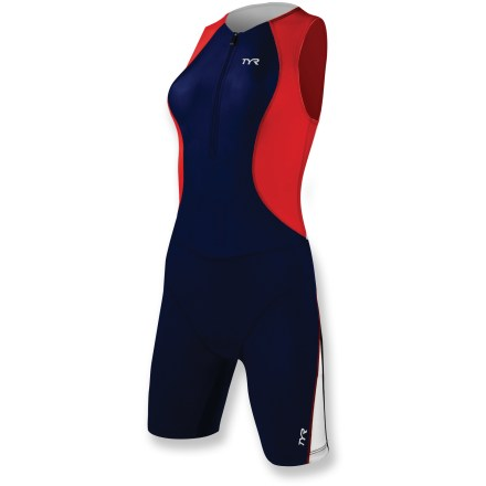 Wake Keep your performance at a high level as you power through the miles with the women's TYR Competitor Tri suit. Polyester/spandex fabric is lightweight, breathable and fast drying. Fabric provides UPF 50+ sun protection, shielding skin from harmful ultraviolet rays. 10 in. front zipper lets you get in and out of the suit quickly and offers on-the-fly ventilation. Breathable, moisture-wicking stretch chamois offers moderate cushioning for comfort in the saddle. Silicone beaded grippers hold shorts in place, with lasting elasticity that won't irritate or put pressure on your legs. Flatlock seams ensure chafe-free comfort that'll keep you going for miles. Dual back pockets on the TYR Competitor Tri suit hold a few small essentials. - $59.83