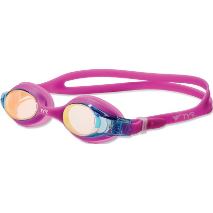 Fitness The Swimple metallized swim goggles for girls reflect light, reduce glare and enhance peripheral vision in the water. A quick-release button makes it easy to adjust the headstrap on her own. - $13.00