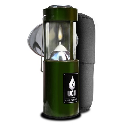 Camp and Hike Enjoy the soft glow of candlelight on your outings with the Uco Original Candle Lantern kit. The kit includes the lantern, a clip-on reflector and protective neoprene case. - $26.95