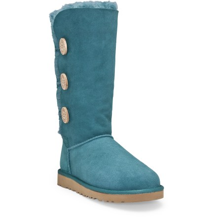 Bringing buttonlike cuteness, UGG Bailey Button Triplet boots boast UGG style and comfort aplenty in a tall, button-accented design. - $79.83