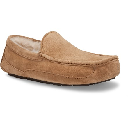 Entertainment Equally ready for walking the dog, lounging fireside or stepping outside to get the paper, the UGG Ascot slippers offer a stylish and sophisticated exterior with a luxurious lining. - $110.00