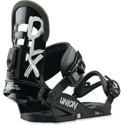 Snowboard The Union DLX snowboard bindings are built with strong and rugged materials for long-lasting performance year after year. Union bindings are designed to promote a free, even board flex for sweeter response, board control and improved board durability. Union baseplates are designed to provide supreme strength with the smallest footprint possible, crucially reducing interference with your board's true flex. Stage I bases are made wth high-quality DuPont(TM) Zytel(R) ST nylon; they're strong, supportive and secure, and offer balanced comfort and response. Lightweight injected dual-zone EVA bushings damp vibrations underfoot to promote a comfortable ride and smooth, even board flex with no dead spots. Extruded aluminum heel cups undergo an anodizing process that further increases their strength by 30%; they'll maintain their shape no matter how much wear and tear they see. Multizone DuPont(TM) Zytel(R) ST injected highbacks build in flex and tweakability where you want it, and support and durability where you need it. Quickly adjust forward lean angle without tools. Binding fiberglass content proportionally increases as sizes get larger, ensuring just the right amount of support for any rider who straps in. New 3D Direct-Connect ankle straps eliminate elasticity and evenly distribute pressure across feet and ankles for increased comfort and board control. Redesigned toe cups and grippy, multi-position toe straps offer an improved and updated fit for a wider range of boots. Injected aluminum buckles and steel cages allow fast entry and exit. Union Contact bindings are compatible with Burton The Channel M6 snowboards, disc conversion kit is sold separately. - $129.95
