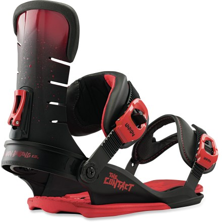 Snowboard Union Contact snowboard bindings are packed with freestyle firepower. New Fusion highback offer lateral support and flex that remains intact in any temperature. High-quality Union design, materials and construction offer you out-of-the-box comfort and a long binding life. Union bindings are designed to promote a free, even board flex for sweeter response, board control and improved board durability. Union baseplates are designed to provide supreme strength with the smallest footprint possible, crucially reducing interference with your board's true flex. Contact bases are made wth high-quality DuPont(TM) Zytel(R) ST nylon; they're strong, supportive and secure, and offer balanced comfort and response. Lightweight injected dual-zone EVA bushings damp vibrations underfoot to promote a comfortable ride and smooth, even board flex with no dead spots. Extruded aluminum heel cups undergo an anodizing process that further increases their strength by 30%; they'll maintain their shape no matter how much wear and tear they see. All-new Fusion highbacks, made with DuPont(TM) Zytel(R) ST, have increased lateral flex for next level comfort and freedom of movement. Quickly adjust forward lean angle without tools. Binding fiberglass content proportionally increases as sizes get larger, ensuring just the right amount of support for any rider who straps in. New 3D Direct-Connect ankle straps eliminate elasticity and evenly distribute pressure across feet and ankles for increased comfort and board control. Redesigned toe cups and grippy, multi-position toe straps offer an improved and updated fit for a wider range of boots. Magnesium buckles are 4 times stronger than aluminum with only half the weight. Union Contact bindings are compatible with Burton The Channel M6 snowboards, disc conversion kit is sold separately. - $179.95