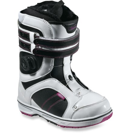 Snowboard Vans Kira snowboard boots provide quick and easy adjustability in precise locations. Add in soft cuff construction that caters specifically to the female anatomy and you've got one habit-forming boot. - $99.83